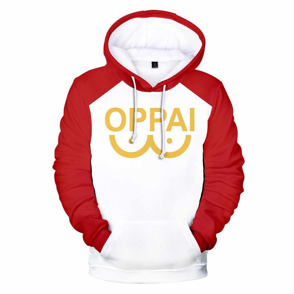Anime One-Punch Man Oppai Logo Hoodies Cotton Hoodie Pullover Sweatshirt Jacket