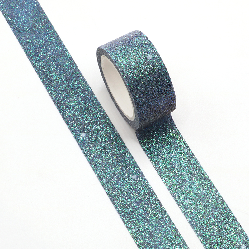 Blue Impression Bullet Journal Glitter Washi Tape Cute Decorative Adhesive Tape DIY Scrapbooking Sticker Label Stationery