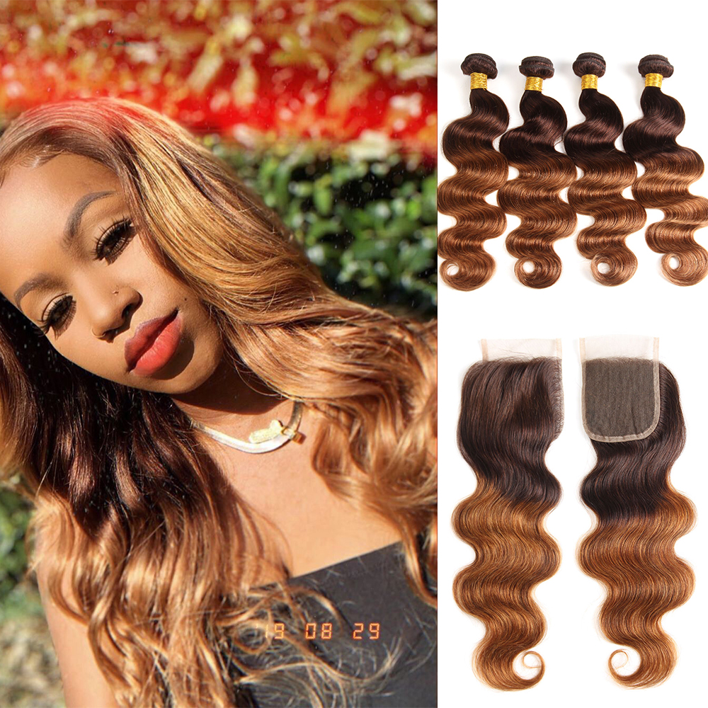 Ombre Body Wave Human Hair Bundles With Lace Closure Honey Blonde Bundles Brazilian Remy Hair Weave 4 Bundles With Closure