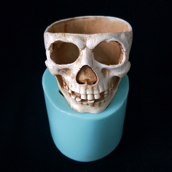 Silicone concrete Skull planter Halloween cement flower pot molds pen holder vase molds
