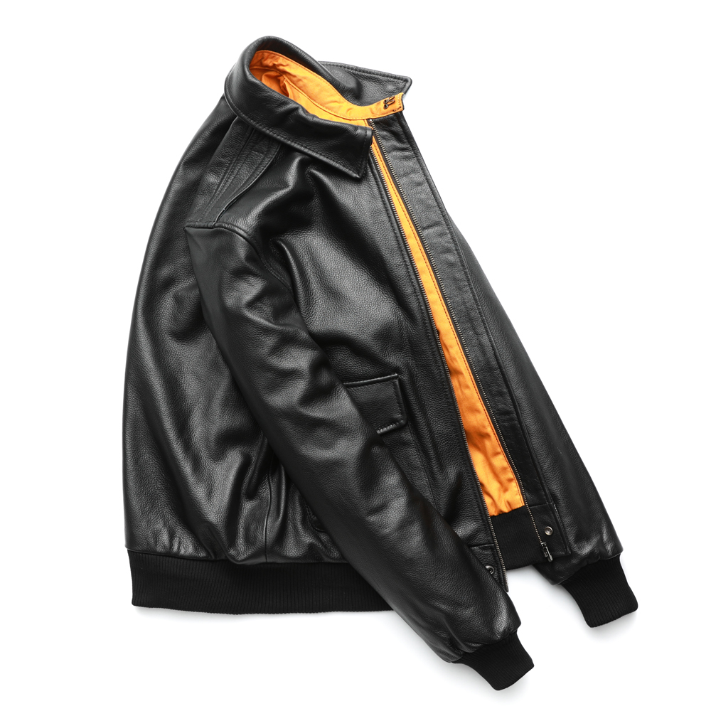 Mens Cross Zip Biker Pilot Motorcycle Jacket Real Leather Air Force 1