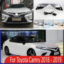 2pcs For Toyota Camry 2018 2019 LED Daytime Running Lights DRL with Fog lamp hole Yellow Turn Signal lamp Blue Night light(China)