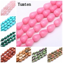 Yumten Pear Chalcedony Bead 10mm*14mm Natural Onyx Rose Quartz Jasper Rainbow Beads Wholesale Hand Made Jewelry Necklace Bangles