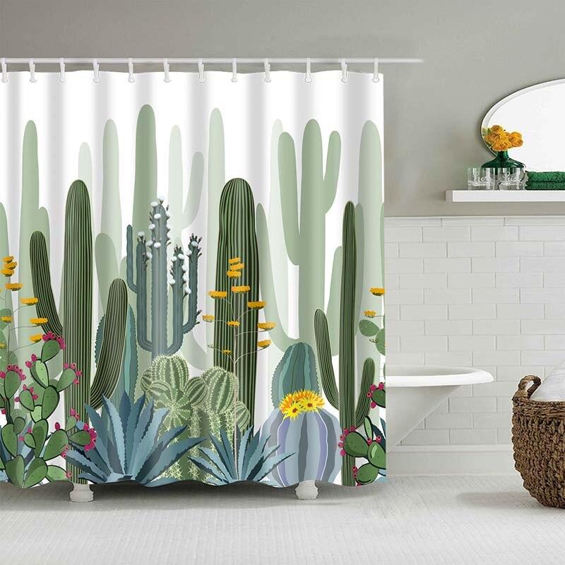 Тропический кактус, занавеска для душа, полиэфирная ткань, занавеска для ванной комнаты, украшения для ванной комнаты, мульти-размер, занавеска для душа с принтом s - Цвет: 21