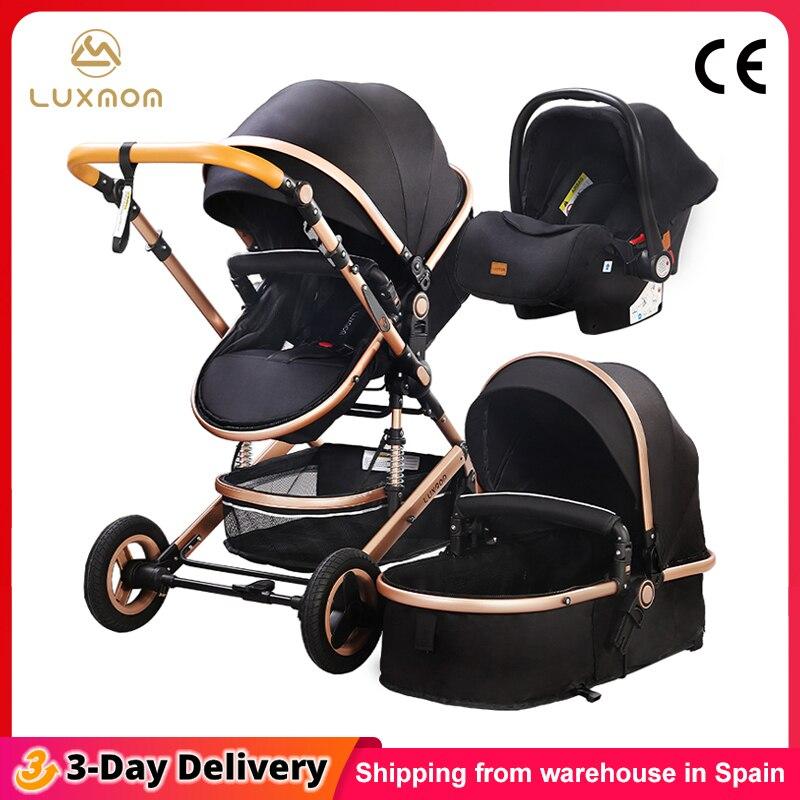 Luxmom baby kinderwagen 3 in 1 mit auto sitz Umwelt freundliche materialien Vier-rad schock Absorption Senden aus Spanien