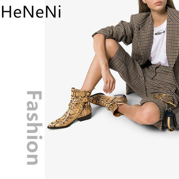 New Women Ankle boots Snake print Leather Western Cowgirl Boots Pointed Toe Buckle Slip-On Motorcycle Female Shoes botas mujer