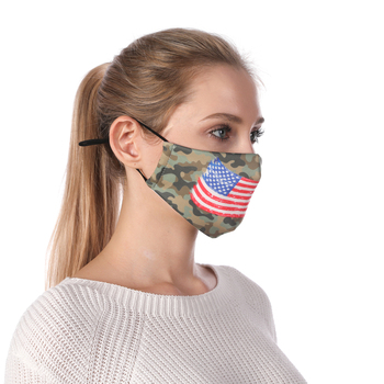USA Flag Printing Reusable Protective PM2.5 Filter Mouth Mask Anti Dust Face mask Windproof Camouflage Face Masks Face Masks