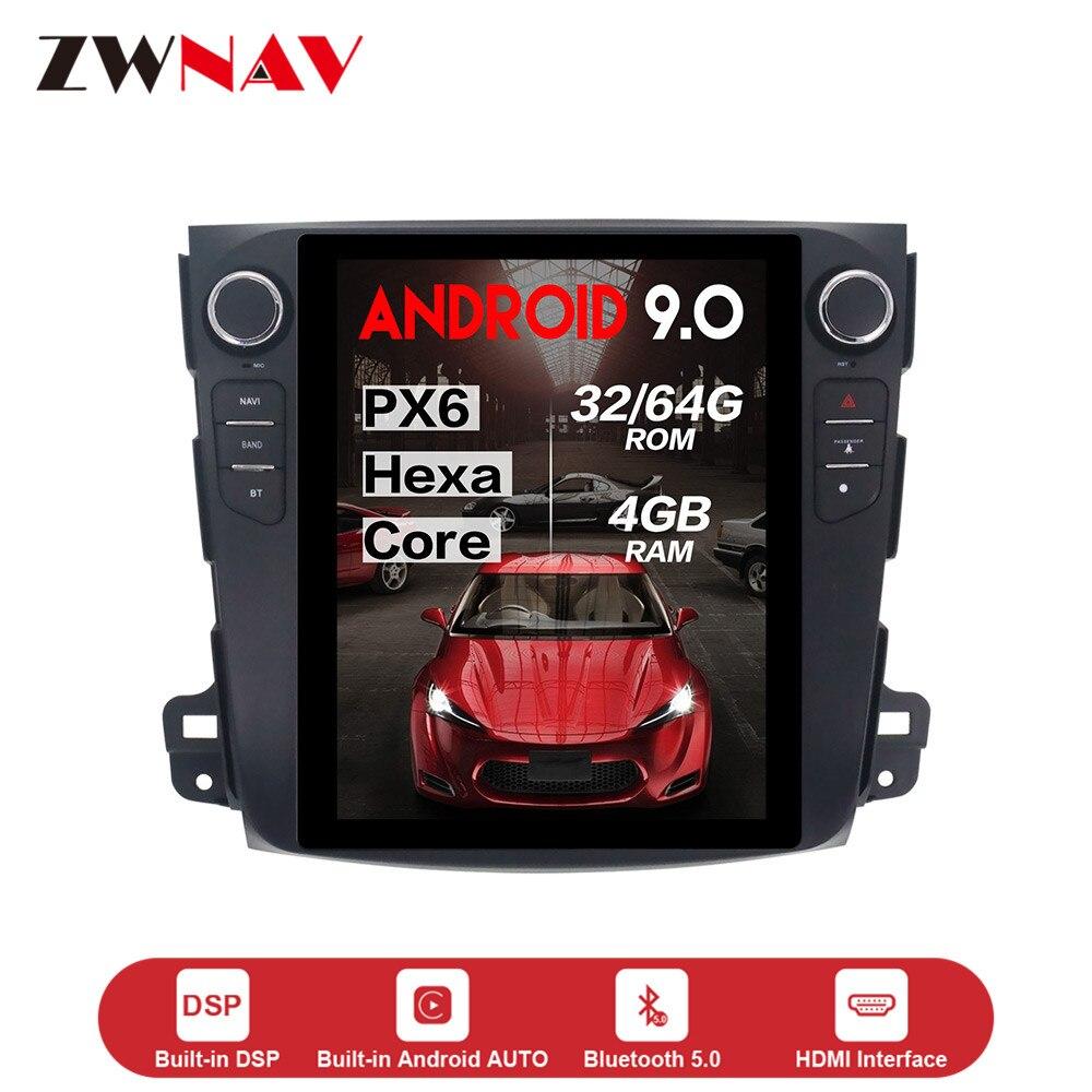 Écran vertical Tesla style Android 9.0 lecteur dvd de voiture GPS Navi unité pour Mitsubishi Outlander 2006-2011 radio multimédia stéréo