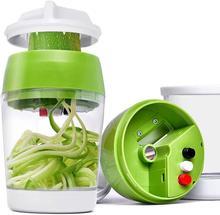 Handheld Spiralizer Vegetable Slicer 5 in1 Adjustable Spiral Cutter with Container Zucchini Noodle Spaghetti Maker Spiral Slicer