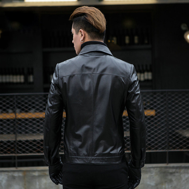 Spring New Genuine Leather Jacket Men Top Brand Business Slim Fit Sheepskin Outerwear Street Casual Real Leather Short Coat