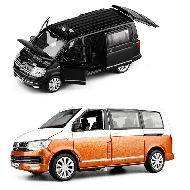 1/32 Mix Colors T6 Van Diecast Model Car Bus MPV Boy Gifts Collection Pull Back With Light And Sound Gift Toys V082