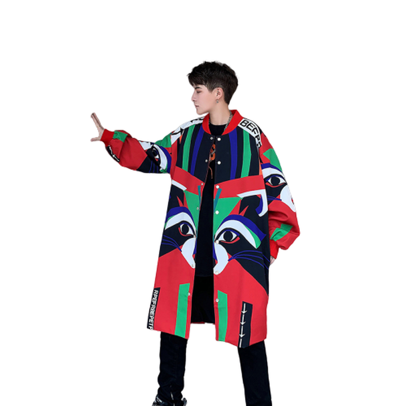 2020 Spring New Hip-hop Mid-length Trench Coat Men Street Funny Printed Hip-hop Trench Coat Casual Fashion Hip Hop Street Punk