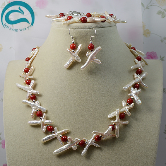 Top Quality Baroque Pearl Coral Necklace Bracelet Earrings Jewelry Set White Color Genuine Cross Pearl Perfect Handmade Jewelry