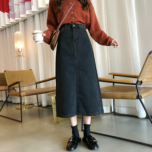 Image 3 - Skirts Women Denim A Line Simple Korean Style Button Pocket Harajuku High Waist Soft Womens Calf Length Skirt Streetwear Chic