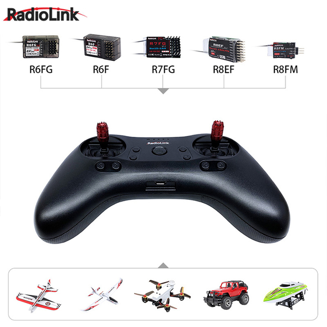Radiolink T8S 8CH Mini RC Transmitter and R8FM Mini Receiver 2.4G Radio Handle Gamepad Controller for Fixed Wing/Drone/Car/Boat 5