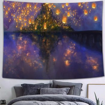 Simsant Mushroom Forest Castle Tapestry Fairytale Trippy Colorful Butterfly Wall Hanging Tapestry for Home Dorm Fantasy Decor 39