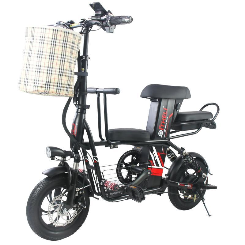 Parent-Child Electric Bicycle Bike Two Wheels Electric Bicycles 400W 48V Foldable E Scooter With Removable Battery