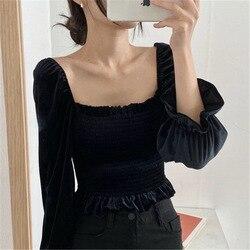 Blusa para mujer con cuello cuadrado sin mangas para mujer 2019 nuevo estilo Otoño e Invierno