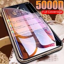 Vidro curvo 5000d para iphone se 2020 11 pro xs max xr x, protetor de tela de vidro temperado para filme para iphone 7 8 6 6s plus