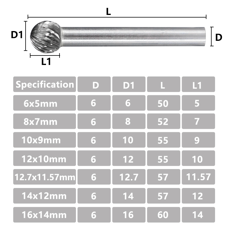 D形 6mm柄 双刃旋转锉-3