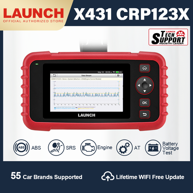 Launch X431 CRP123X OBD2 Scanner Diagnostic Scan Tool Automotive Diagnostic Scanner Auto Code Reader ENG ABS SRS AT WIFI Update
