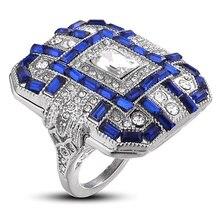 Роскошные серебряные большие квадратные кольца для женщин, ювелирные изделия, свадебные кольца с кристаллами и цирконием для помолвки, массивные кольца, подарки