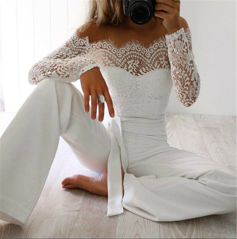 Spring Autumn Sexy Women Off Shoulder Lace Floral Long Sleeve Slim Jumpsuit&Romper Clubwear Playsuit Bodycon Party Jumpsuits