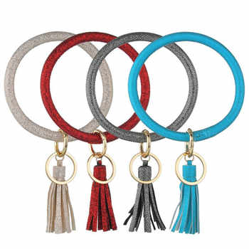 Bright PU Leather Wristlet Keychain Tassel Pendant Keyring For Women Girls Car Key Chain Wrist Strap Accessories Gifts - DISCOUNT ITEM  39% OFF All Category