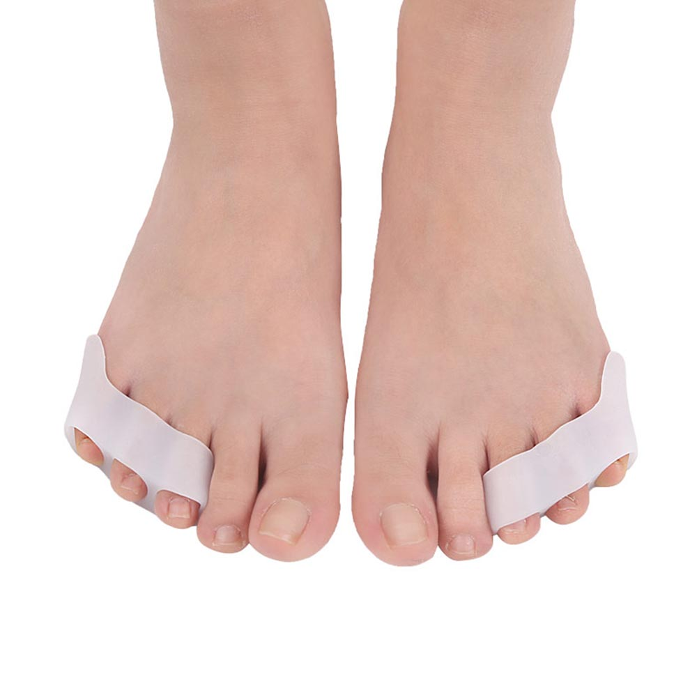1 Pair Toe Separator Silicone Gel Foot Finger Three Hole Toe Separator Correct Orthotics Bunion Protector Pain Relief Foot Care