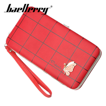Baellerry Wallet Women Casual Plaid Metal Butterfly Long PU Leather Hasp Prota Clutch Bag Smartphone Organizer