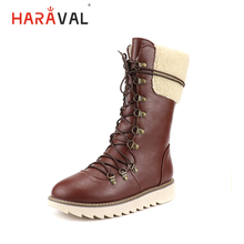 HARAVAL New Classic Woman Mid-calf Winter Boots Luxury Round Toe Low Heel Shoes Comfortable Casual Solid Lace-up Warm Boot B267 цена
