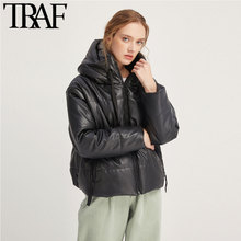 TRAF Women Vintage Warm Winter Faux Leather Jacket Padded Coat Fashion Long Sleeve Zip Pockets Drawstring PU Outerwear Chic Tops