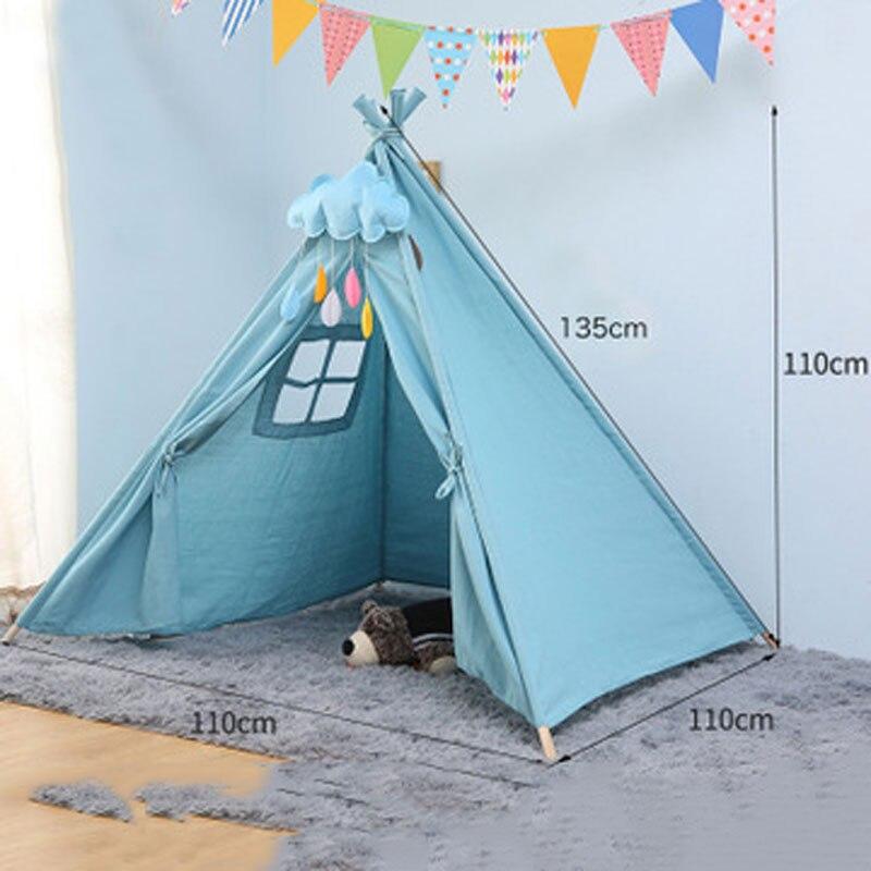 Portable Cotton Canvas Tipi Children's Tent Original Triangle Indian Kids Tent Little House Wigwam Folding Children's House
