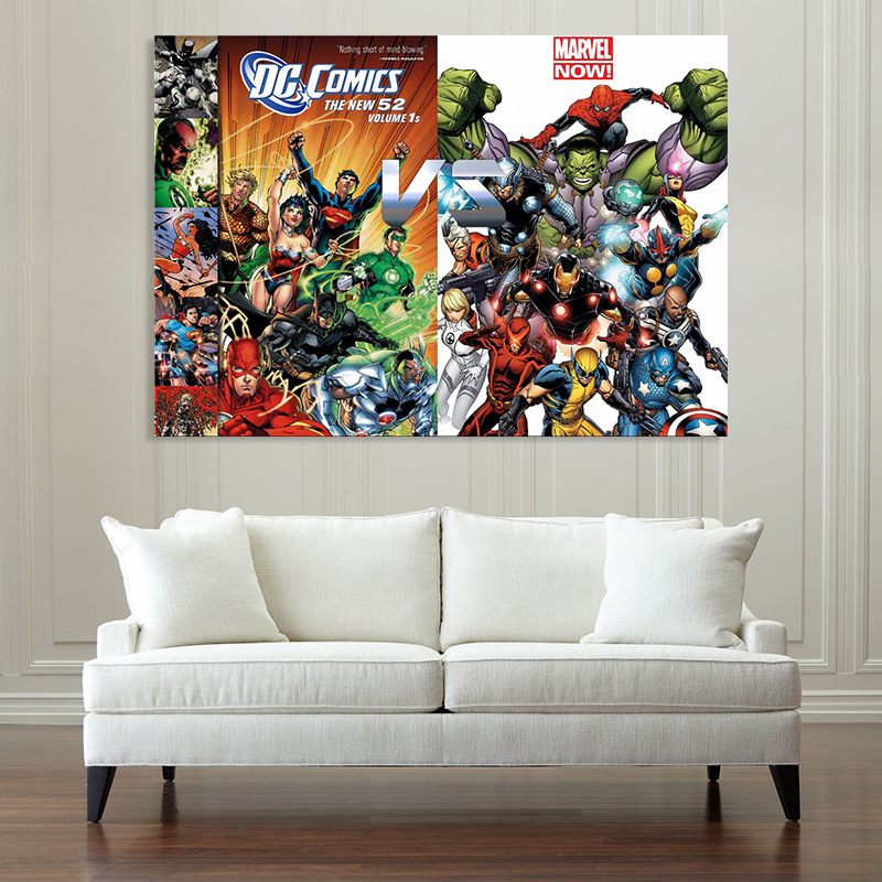 DC Comics VS Marvel Superhero Canvas Painting Poster Avengers Superman living room decorative Spray paintings Wall pictures
