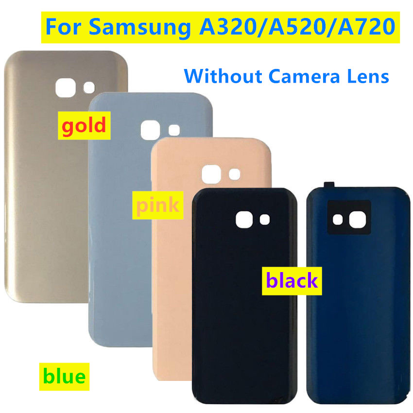 Back Door Rear Glass Battery Cover Replacement For Samsung A3 A5 A7 2017  A320 A520 A720 A320F A520F A720F Battery Back Case