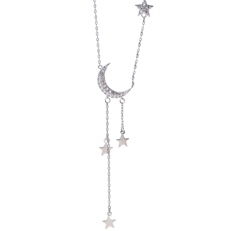 Fashion Sweet Stars Moon Tassel Necklace Simple Temperament silver Plated Clavicle Chain For Women Pendant Jewelry
