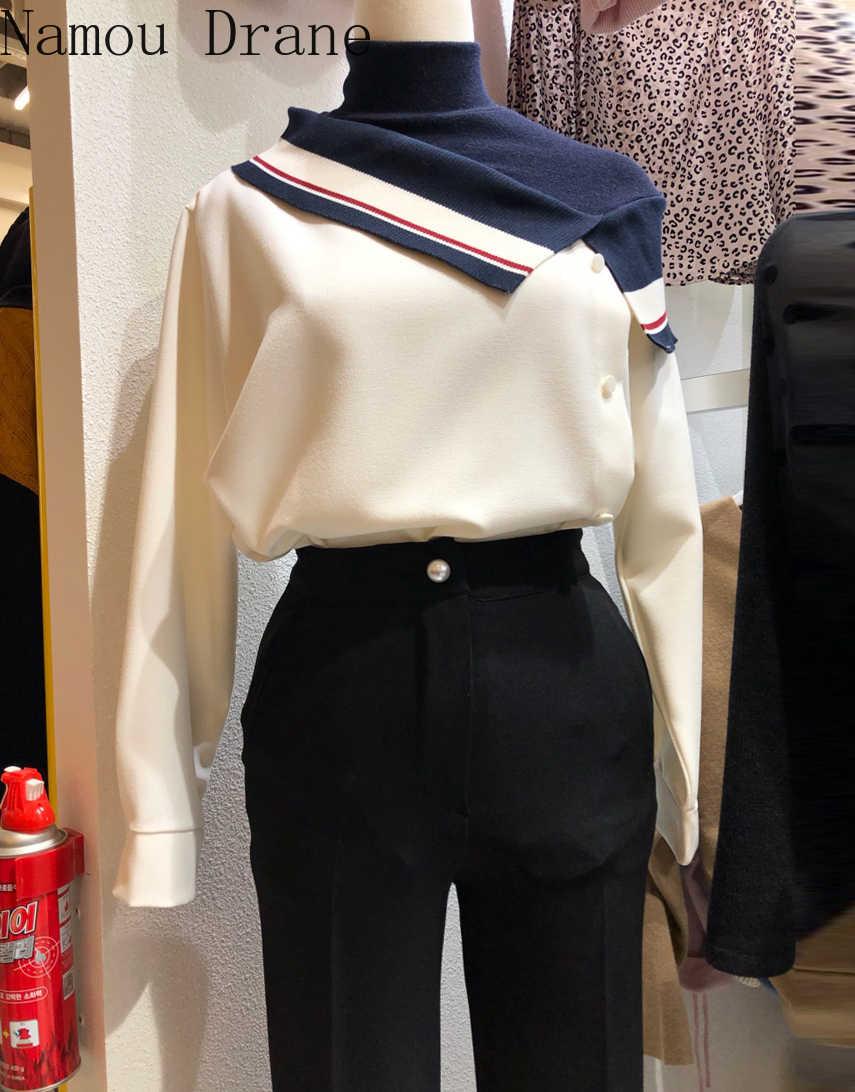 여성 블라우스 한국 터틀넥 롱 슬리브 셔츠 칙 히트 컬러 패치 워크 가짜 투피스 블라우스 무제
