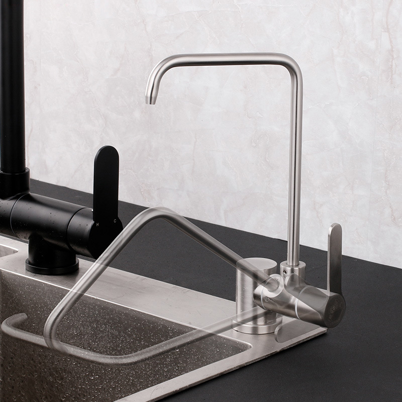 Stainless Steel 1/4 Inch Connect Hose Water Filter Faucet Folding 360 Degree Swivel RO Filters Part Purifier Direct Drinking Tap