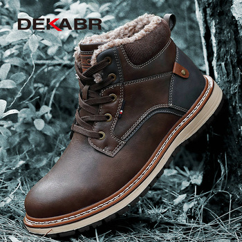 DEKABR Winter Genuine Leather Men's Boots Thick Fur Warm Ankle Working Men Footwear Waterproof Snow Plus Size 40~47 - discount item  40% OFF Men's Shoes