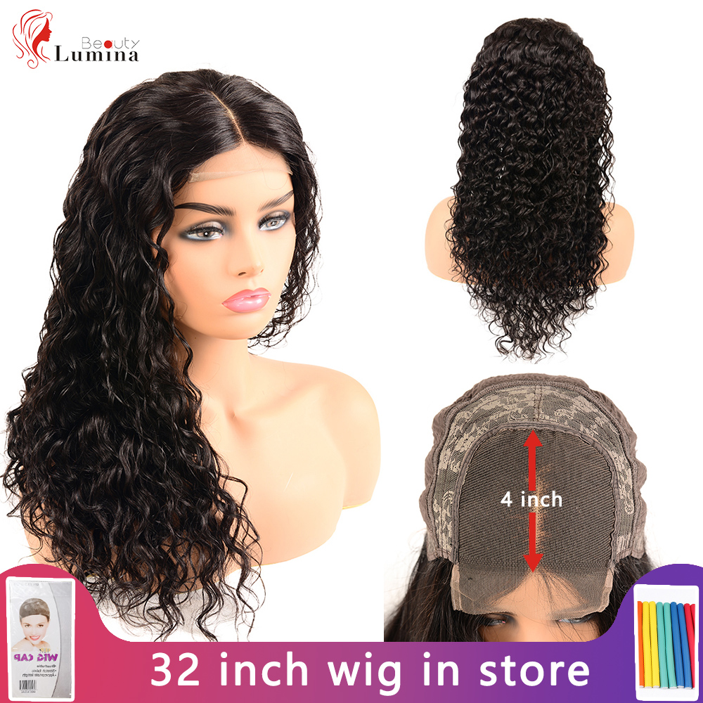 Beauty Lumina 4x4 Lace Closure Wig Brazilian Deep Wave Closure Wig Remy Human Hair Wigs Preplucked Natural Hairline Black Color