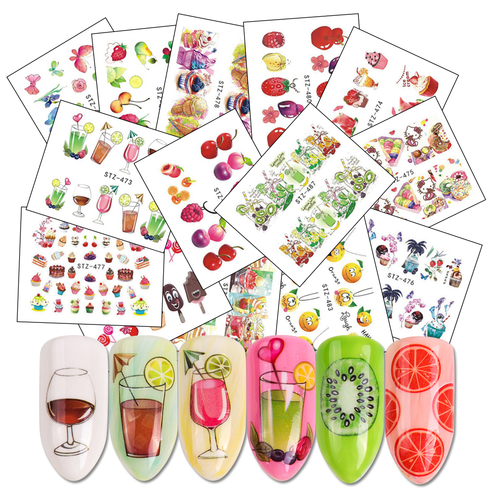 18 Sheets Mix Fruits Water Decals Nail Sticker Set Cake/Juice/Ice Cream Watermark Slider Nail Wraps Accessories LASTZ471-488