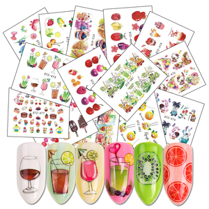18 Sheets Mix Fruits Water Decals Nail Sticker Set Cake/Juice/Ice Cream Watermark Slider Nail Wraps Accessories LASTZ471-488(China)