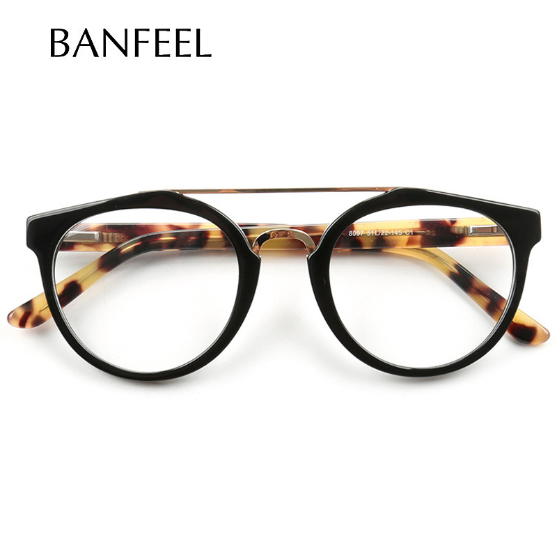 Acetate Eyeglasses Frame Glasses Men Transparent Lens NEW Italy Design Myopia Spectacles Women Double Bridge Optical Eyewear image