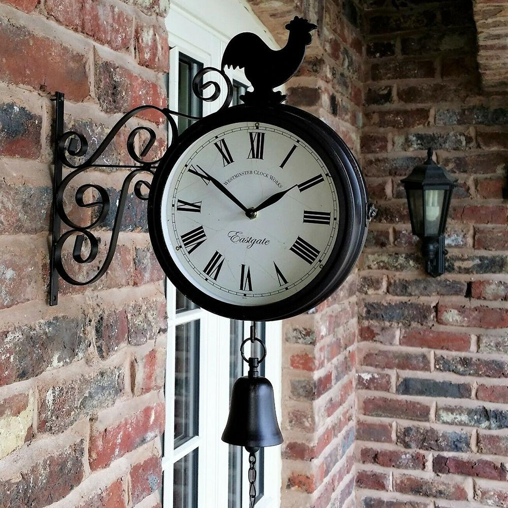 Outdoor Wrought Iron Garden Clock Innovative Fashion Double-Sided Wall Metal  Wall Clock Hanging Clock With Cockerel Bell Shape