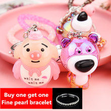 The new 2019 creative pig eight quit to fashion cartoon car accessories ladies handbags key chain