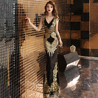 V Neck Mermaid Evening Dress With Gold Lace Black Formal Dress Women Elegant Party Gown For Women Sequin Formal Evening Gown