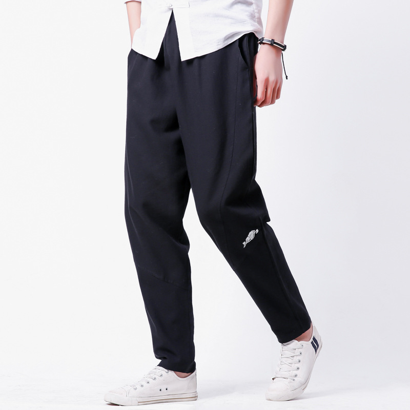 Spring Clothing New Style Origional Chinese-style Summer Wear Men's Cotton Linen Men's Skinny Pants Ethnic Embroidery Casual Pan