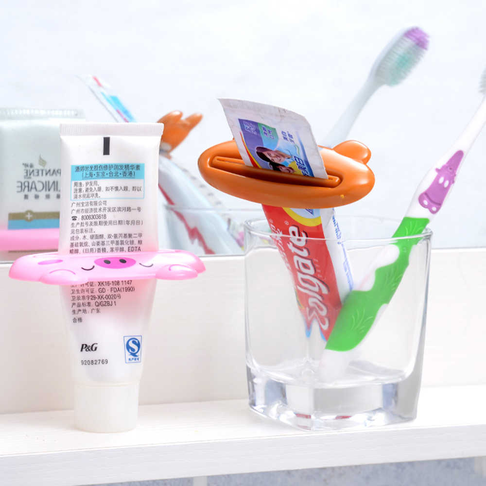 Cute Animal Toothpaste Squeezer Home Bathroom Cartoon Plastic Toothpaste Dispenser Tube Squeezer Rolling Holder Home Bathroom
