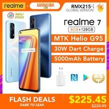 Realme 7 8gb ram 128gb rom versão global 30w dardo carga 48mp quad câmera 90hz display helio g95 gaming cpu 5000mah bateria nova