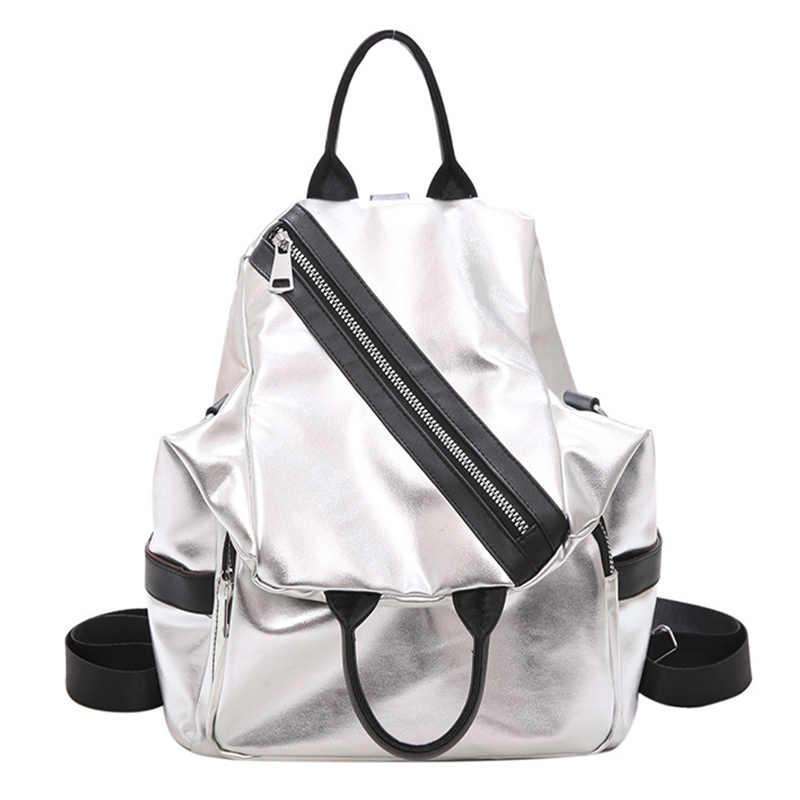 Multifunction Women Backpacks Shoulder Bags Summer Backpack Leather Women Backpacks Light Lady Large Capacity School Bag,Silver
